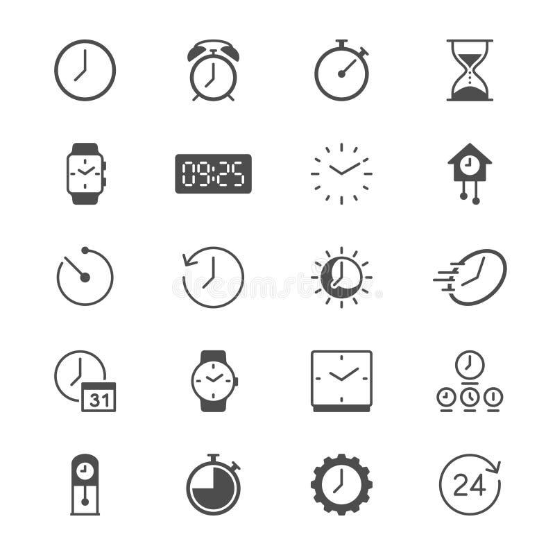 Tiempo e iconos planos del reloj imagenes de archivo