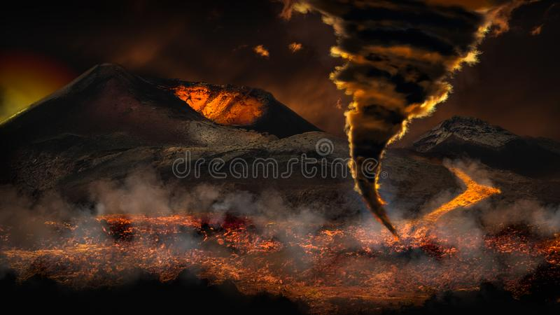 Tiempo extremo con el tornado del tornado y el volcán de la erupción imagen de archivo