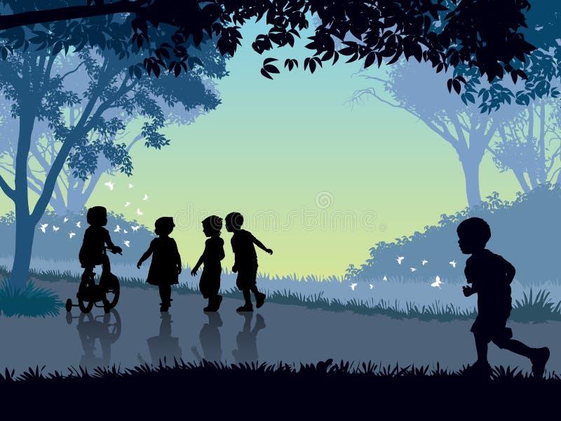 Tiempo feliz de la niñez stock de ilustración