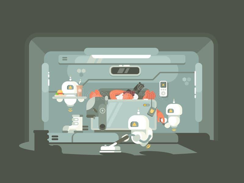 Tiempo futuro, trabajo de los robots libre illustration