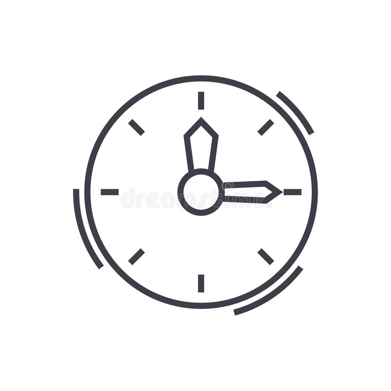 Tiempo, línea icono, muestra, ejemplo del vector del reloj en el fondo, movimientos editable ilustración del vector