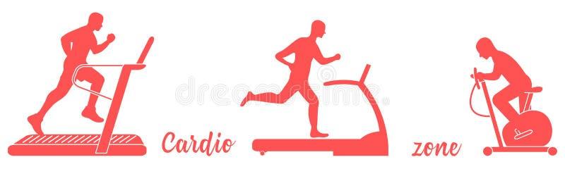 Tiempo a la aptitud y a los deportes Forma de vida sana Gente implicada en deportes Ruedas de ardilla, bicicleta est?tica stock de ilustración