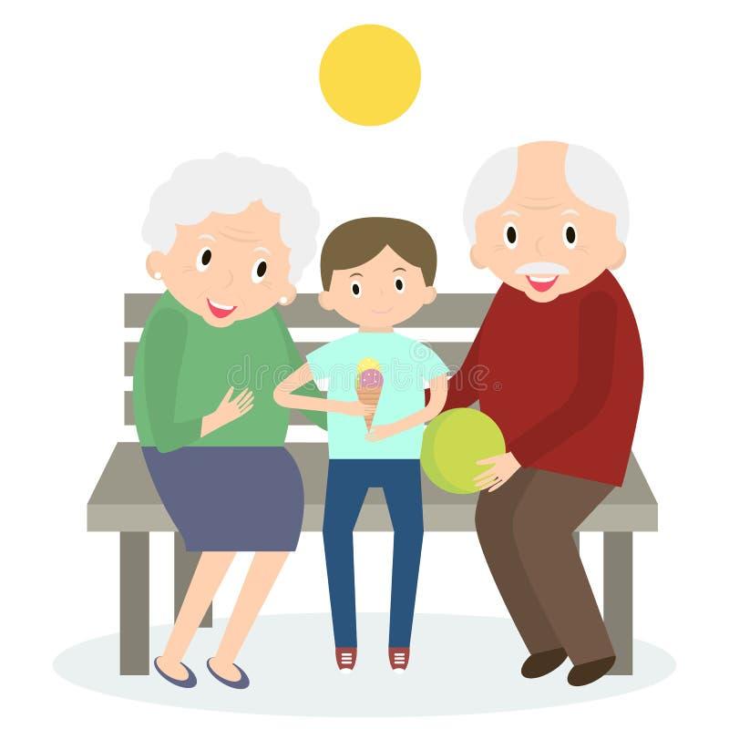 Tiempo libre feliz de la gente mayor con el nieto Abuelos felices con el pequeño nieto Ilustración del vector stock de ilustración