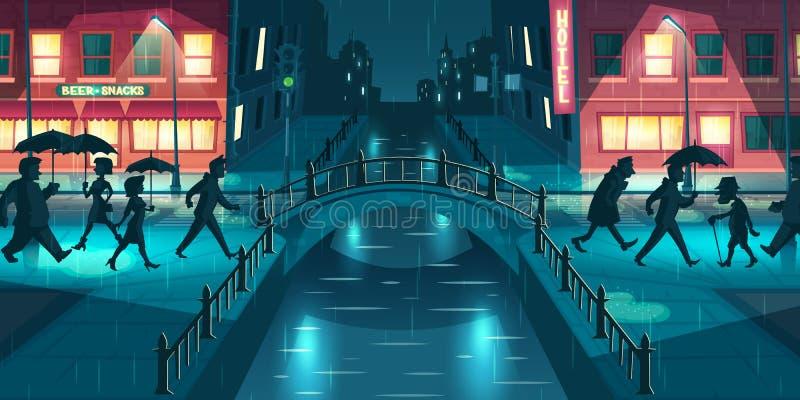 Tiempo lluvioso en vector de la historieta de la ciudad de la noche ilustración del vector