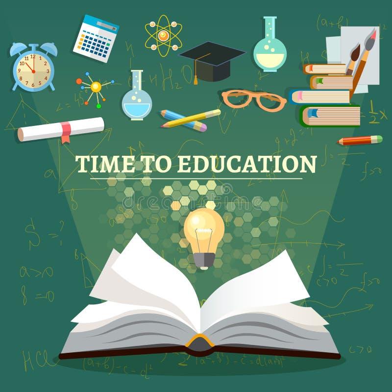 Tiempo a los temas de escuela abiertos del libro de la educación ilustración del vector