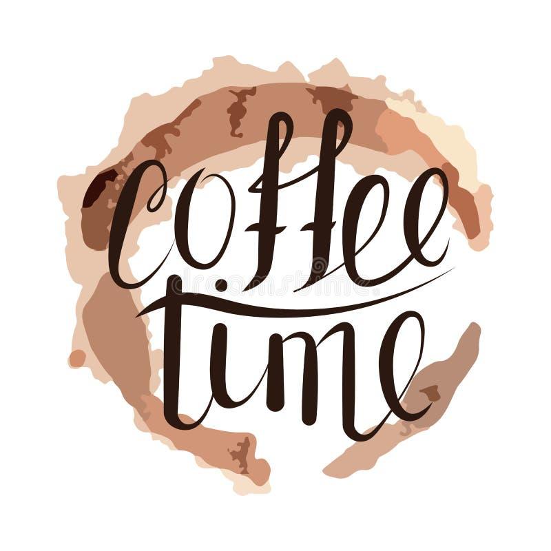 Tiempo manuscrito del café ilustración del vector
