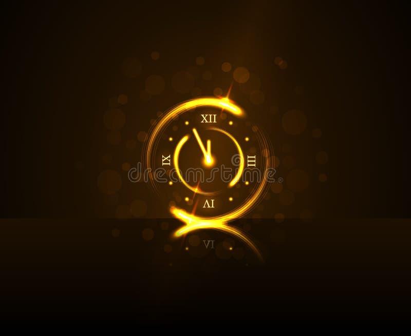 Tiempo minucioso de la cuenta descendiente cinco mágicos del reloj del oro Fondo de la Feliz Año Nuevo Decoración de oro para la  ilustración del vector
