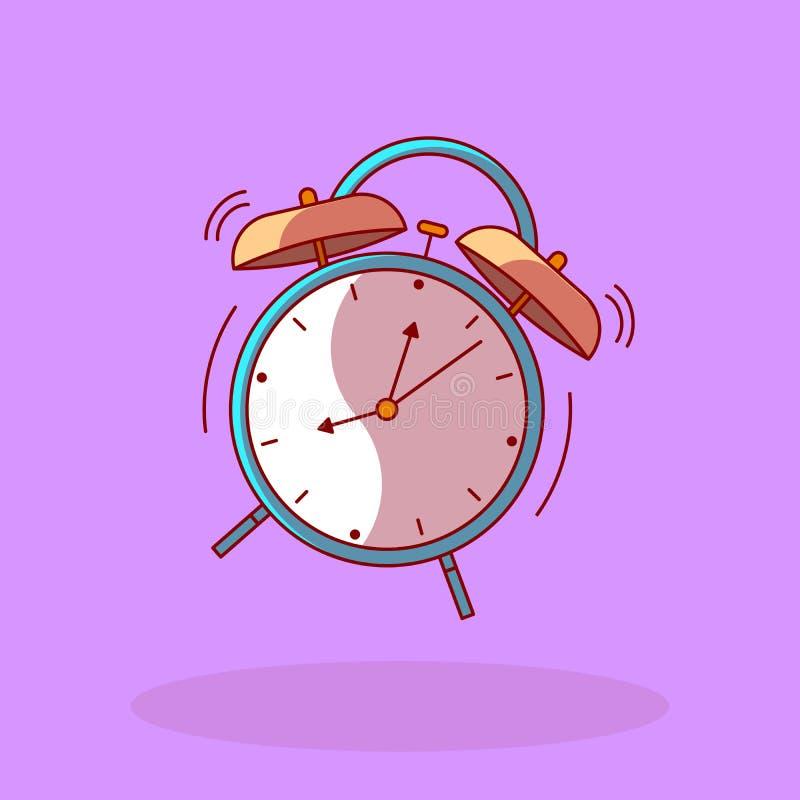 Tiempo para despertar del despertador del vector aislado en la línea estilo plano del vintage retro libre illustration