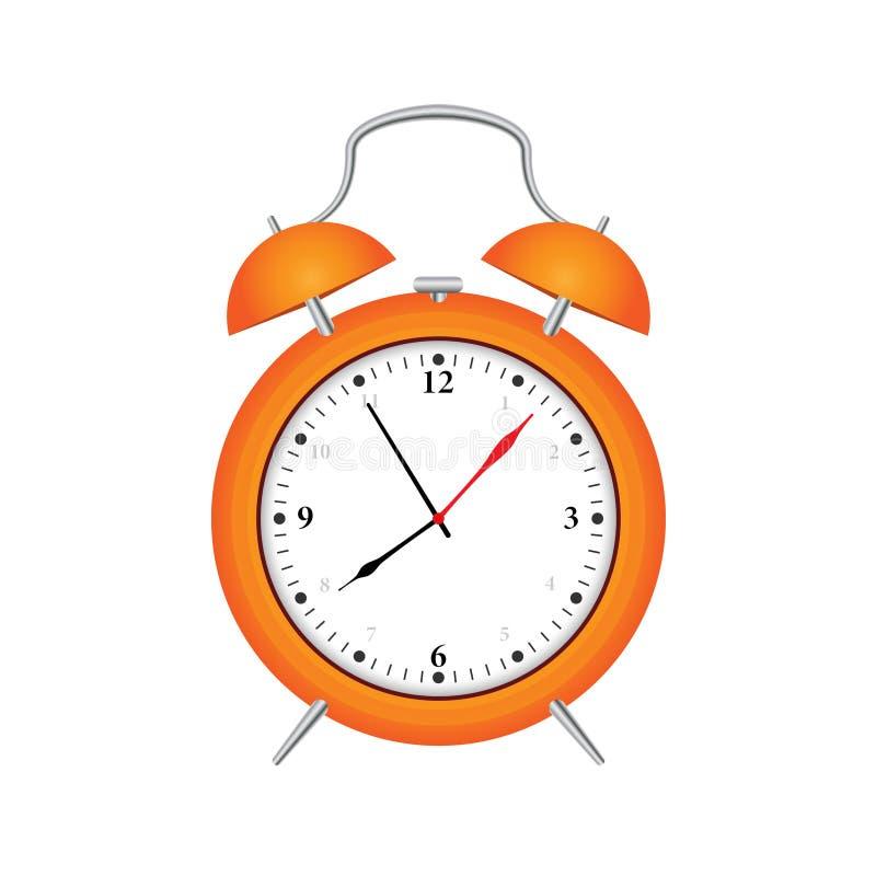 Tiempo para despertar rojo del despertador aislado en el fondo blanco ilustración del vector