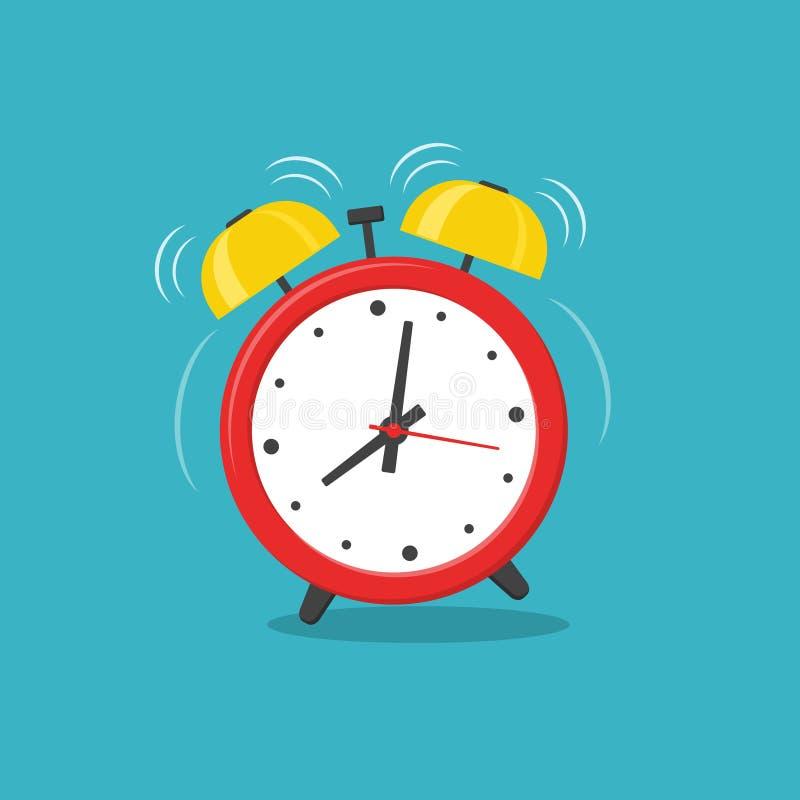 Tiempo para despertar rojo del despertador aislado en fondo en estilo plano stock de ilustración