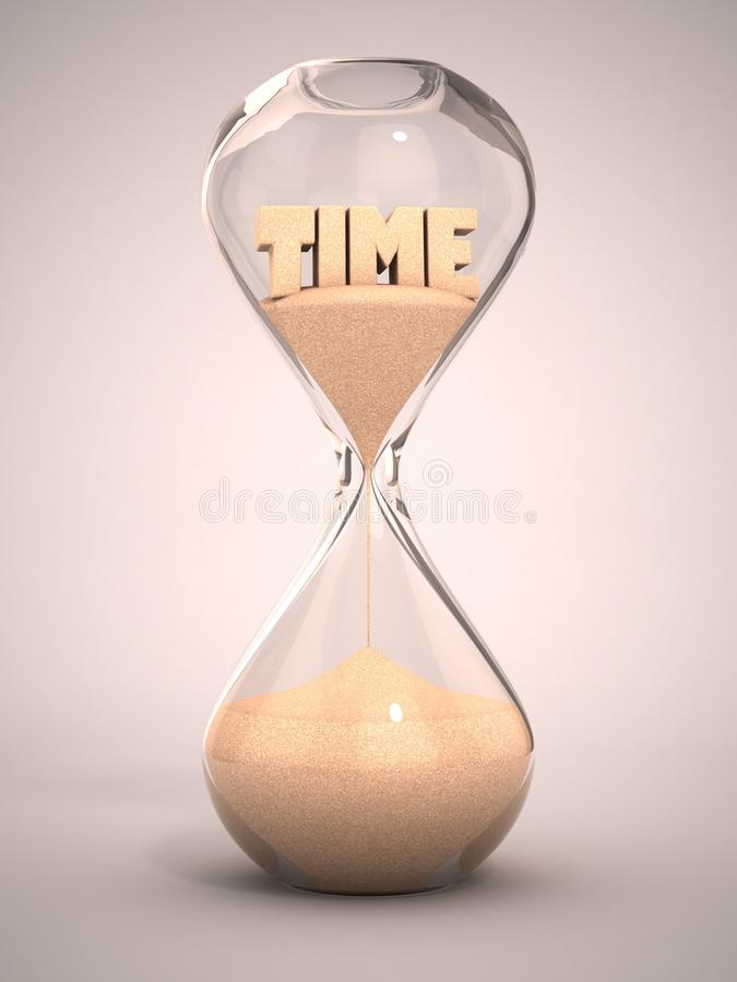 Tiempo que funciona con hacia fuera el concepto 3d stock de ilustración