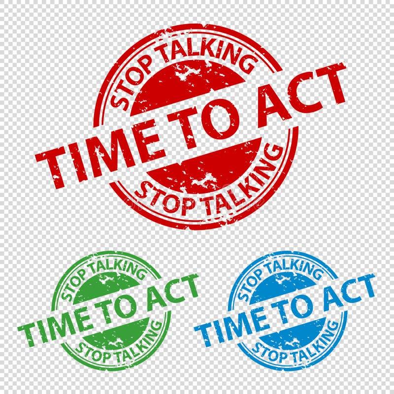 Tiempo que habla de la parada del sello del sello de goma para actuar - ejemplo del vector - aislado en fondo transparente ilustración del vector