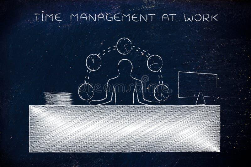 Tiempo que hace juegos malabares del hombre de negocios (relojes), gestión de tiempo en el trabajo imagen de archivo