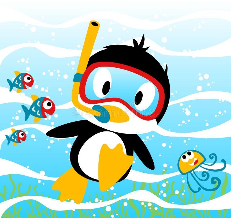 Tiempo que se zambulle de los pingüinos con los pequeños amigos, medusas, pescados, ejemplo de la historieta del vector stock de ilustración