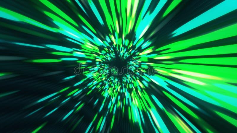 Tiempo y espacio hyperspace, animación del wormhole del túnel del vórtice del fondo 3D de la ciencia ficción de la deformación stock de ilustración