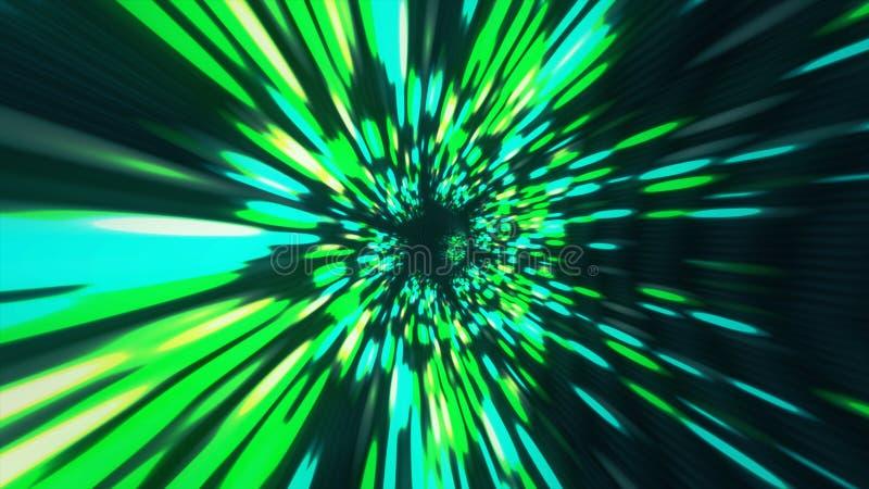 Tiempo y espacio hyperspace, animación del wormhole del túnel del vórtice del fondo 3D de la ciencia ficción de la deformación libre illustration