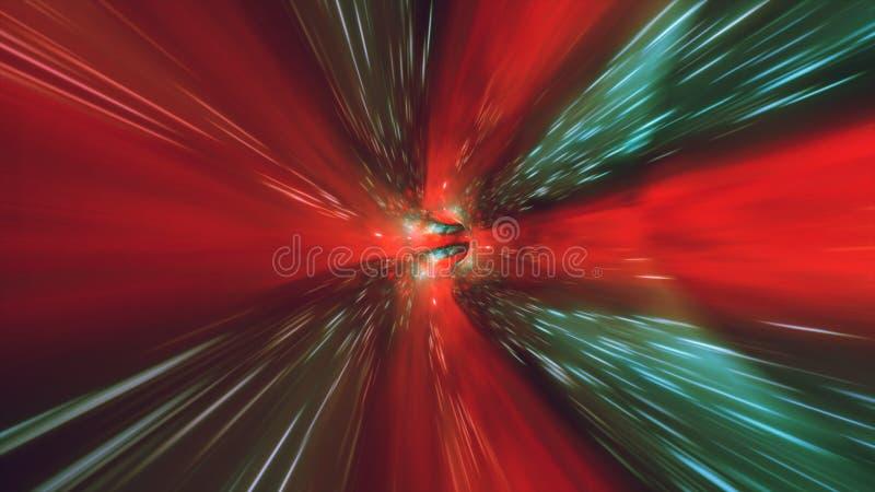 Tiempo y espacio hyperspace, animación del wormhole del túnel del vórtice del fondo 3D de la ciencia ficción de la deformación ilustración del vector
