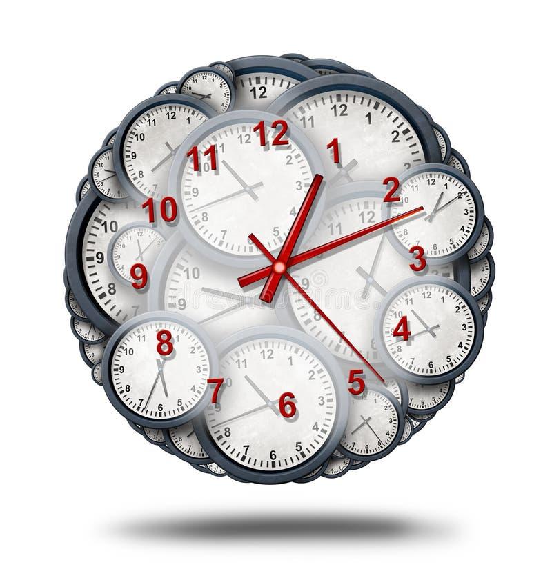 Tiempo y trabajos múltiple de manejo ilustración del vector