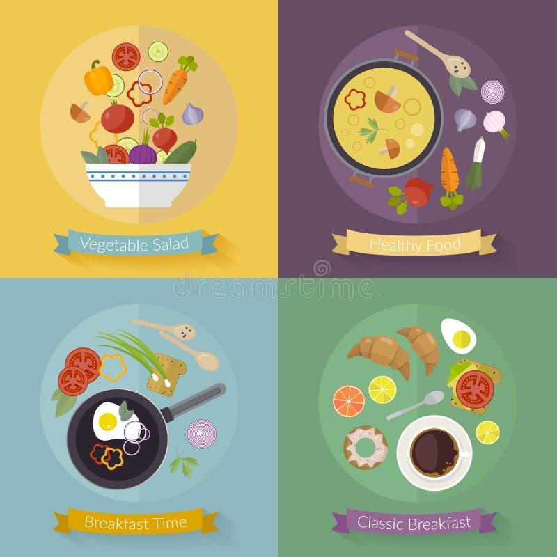 Tiempo y verduras de desayuno determinado del vector con los iconos planos Comida fresca y bebidas en estilo plano ilustración del vector
