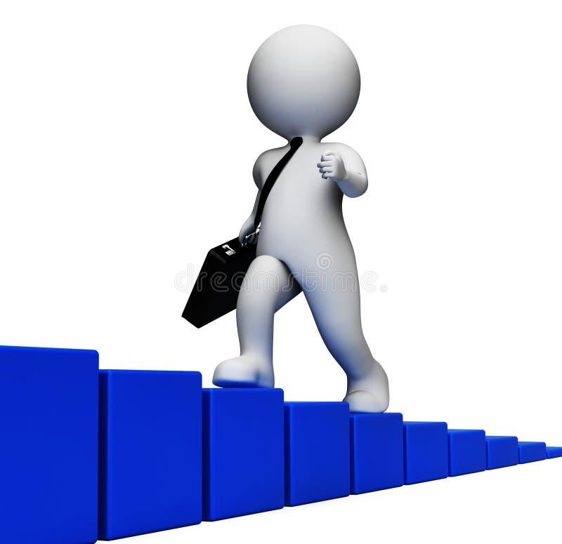 Tiempos de Success Indicates Hard del hombre de negocios y representación anticipada 3d libre illustration