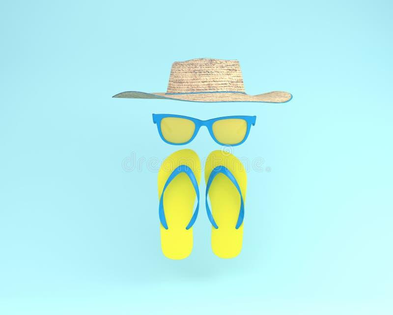 Tiempos de verano de los complementos elegantes en backg en colores pastel azul foto de archivo libre de regalías