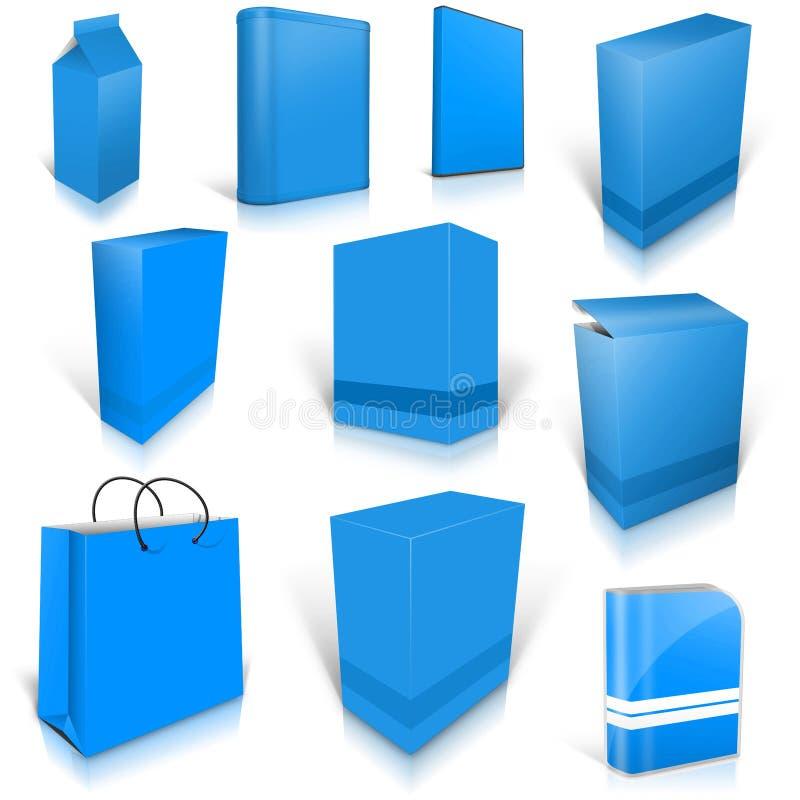 Tien blauwe lichte lege die dozen op wit worden geïsoleerd vector illustratie