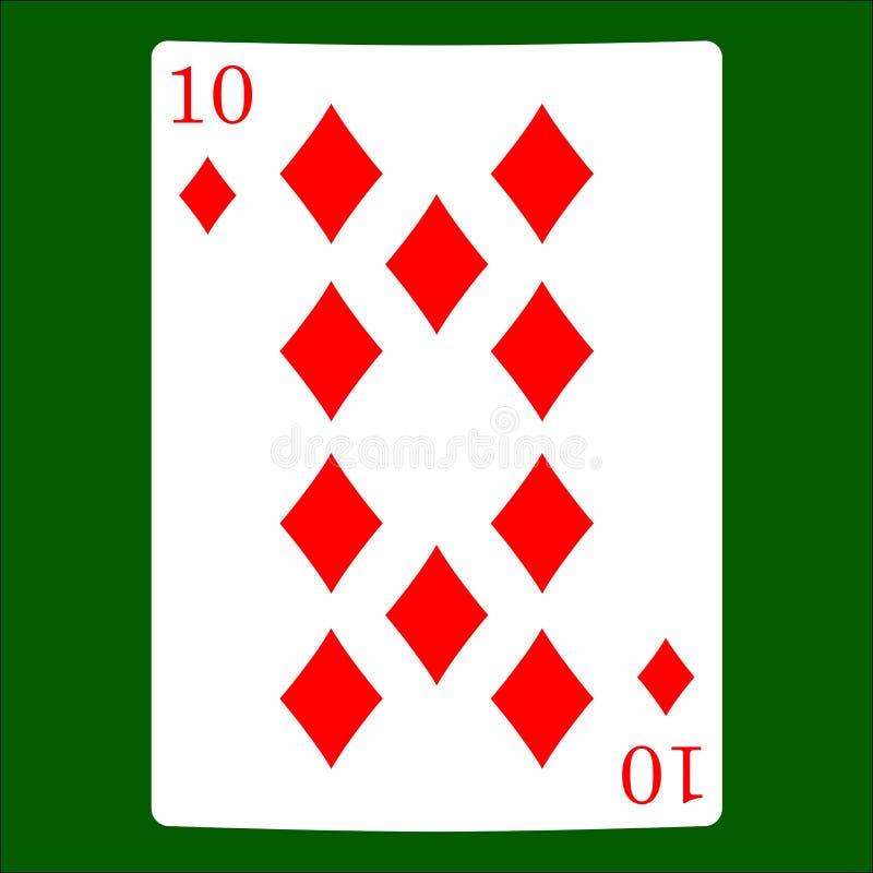 Tien diamanten Het pictogramvector van het kaartkostuum, de vector van speelkaartensymbolen vector illustratie