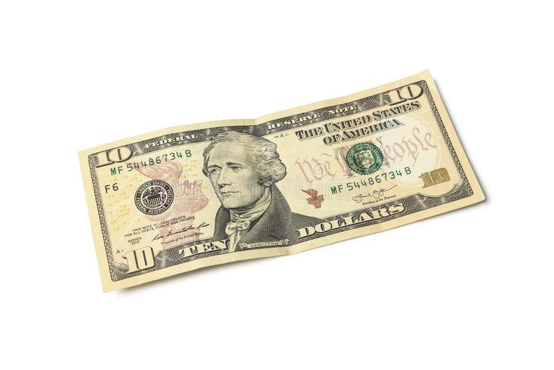Tien dollarrekening stock foto