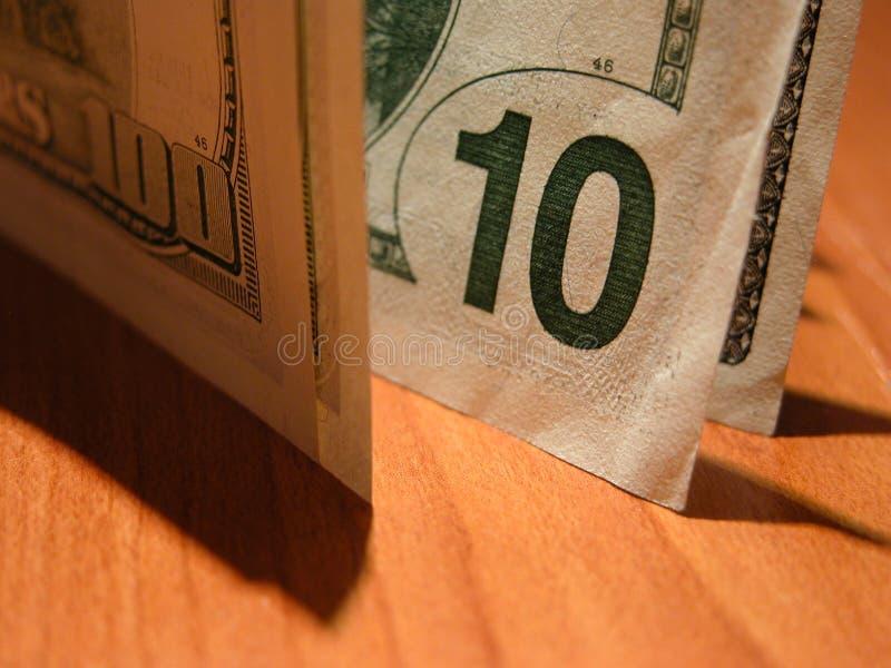 Tien dollarsrekening ($100 in schaduw) royalty-vrije stock foto's