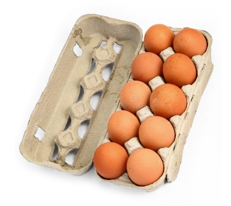 Tien eieren in een doos #2 stock foto's