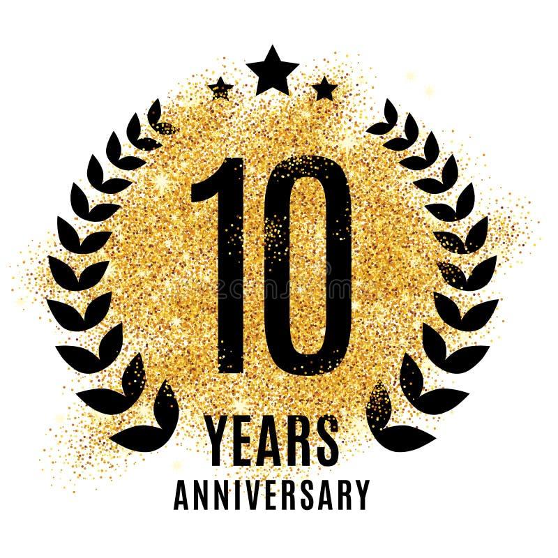 Tien jaar gouden verjaardags vector illustratie