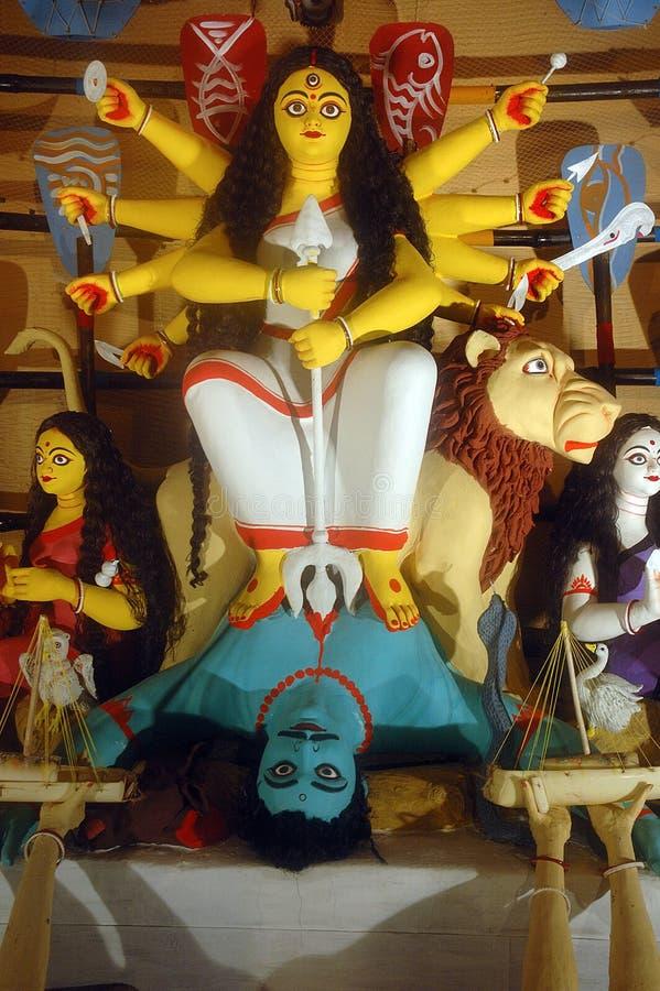 Tien overhandigd idool Durga. stock foto's