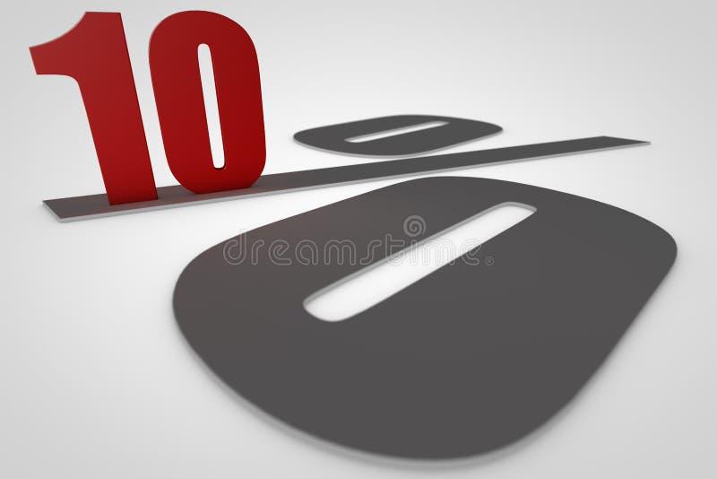 Tien percenten 3d geef terug stock afbeelding