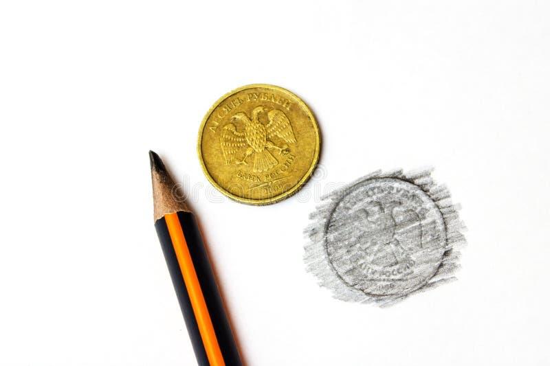 Tien Russische die roebels in potlood op een witte natuurlijke achtergrond worden getrokken royalty-vrije stock afbeelding