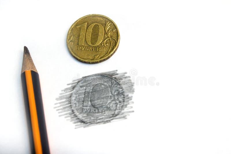 Tien Russische die roebels in potlood op een witte natuurlijke achtergrond worden getrokken stock afbeelding