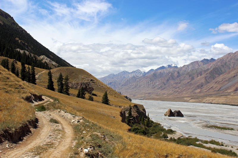 Kyrgyzstan - Central Tien Shan region. Tien Shan, is a large system of mountain ranges located in Central Asia stock image