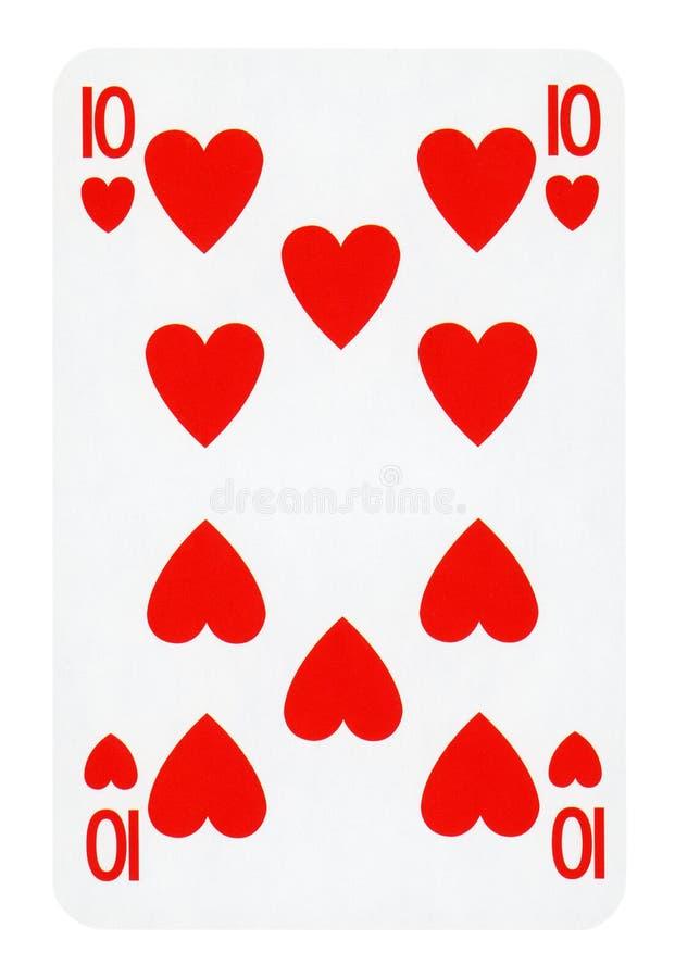 Tien van Hartenspeelkaart - op wit wordt geïsoleerd dat royalty-vrije stock afbeeldingen