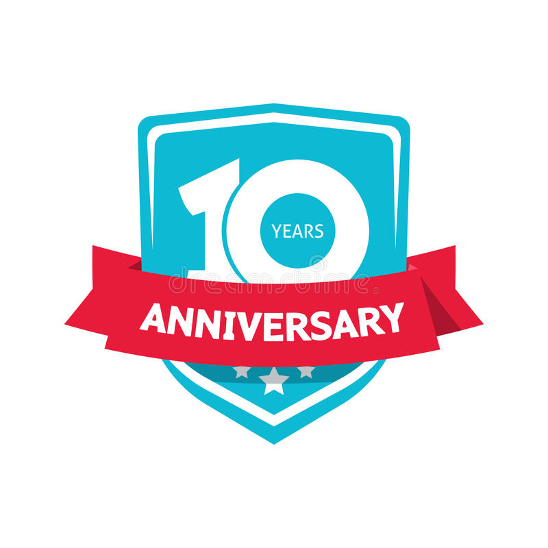 Tien 10 van het vector, blauwe 10de de partijjaar etiket van de verjaardagssticker stock illustratie