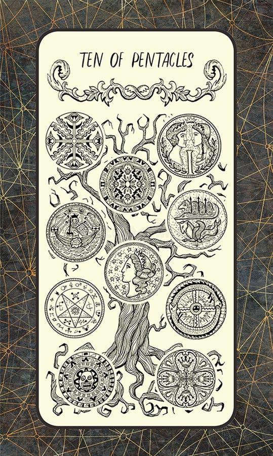 Tien van pentacles De Magische kaart van het Poorttarot vector illustratie