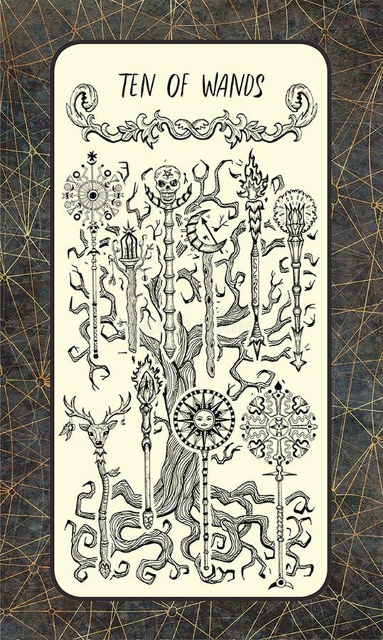 Tien van toverstokjes De Magische kaart van het Poorttarot stock illustratie