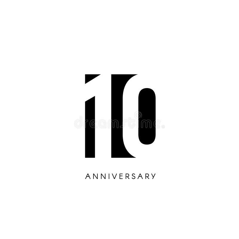Tien verjaardag, minimalistic embleem Tiende jaren, 10de jubileum, groetkaart Verjaardagsuitnodiging 10 jaarteken zwart royalty-vrije illustratie