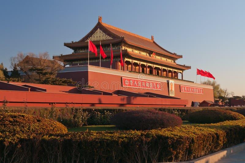 Tienanmenpoort (de Poort van Hemelse Vrede) bij de winterochtend. B stock foto