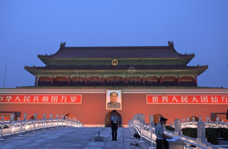 Tienanmenpoort 's nachts, Peking, China stock fotografie