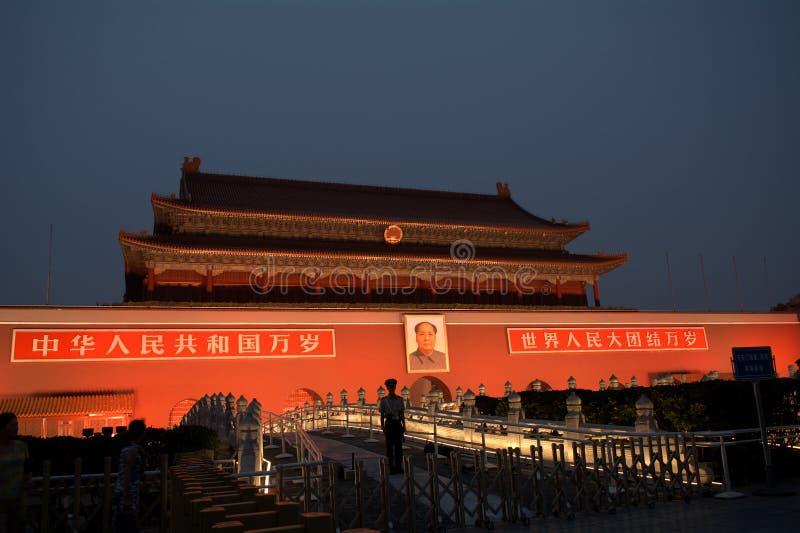 Tienanmenpoort 's nachts, Peking, China royalty-vrije stock afbeelding