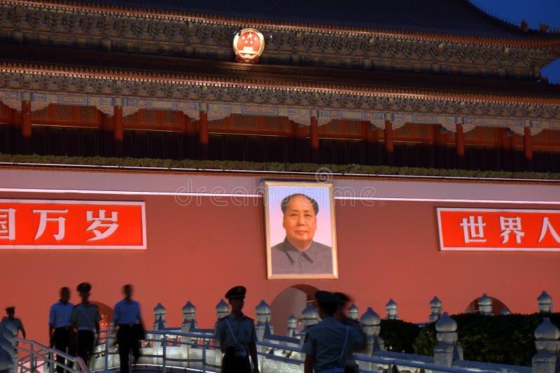 Tienanmenpoort 's nachts, Peking, China stock afbeeldingen
