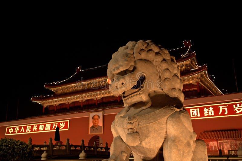 Tienanmenpoort 's nachts, Peking, China stock foto