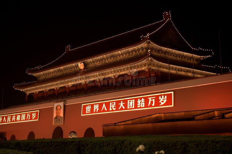 Tienanmenpoort 's nachts, Peking, China stock foto's