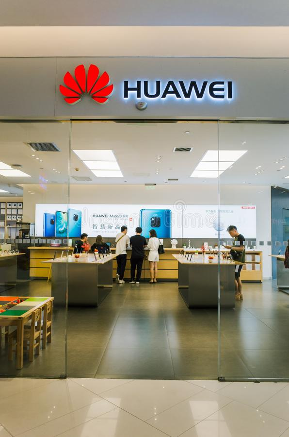 Tienda al por menor de Huawei en Chengdu fotografía de archivo libre de regalías