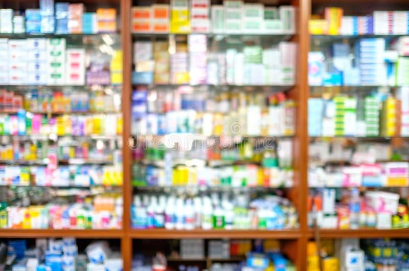 Tienda borrosa de la farmacia fotos de archivo libres de regalías