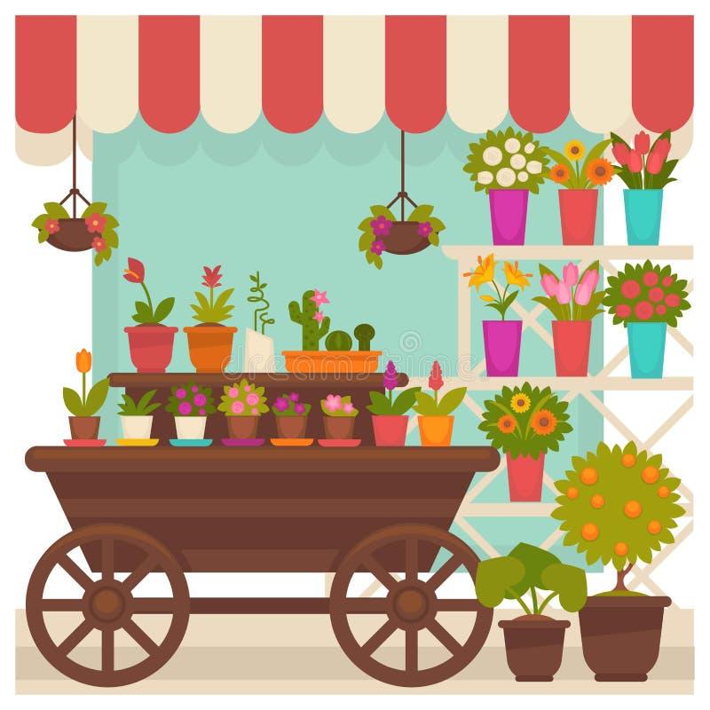 Tienda comercial con las flores hermosas en el ejemplo de los potes stock de ilustración